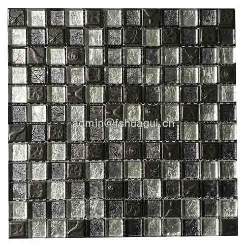 豪华黑色树脂混合金箔玻璃水晶马赛克厨房浴室瓷砖