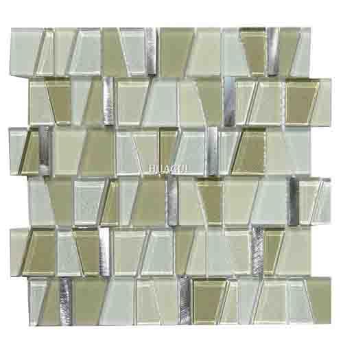 造型3d光滑玻璃混合铝马赛克厨房背墙创意