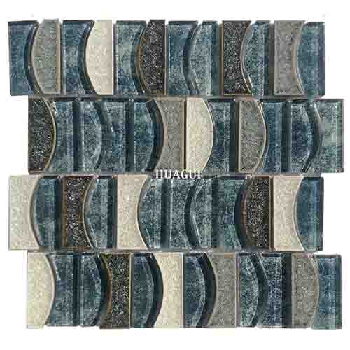 最新蓝海月亮图案玻璃混合陶瓷马赛克瓷砖