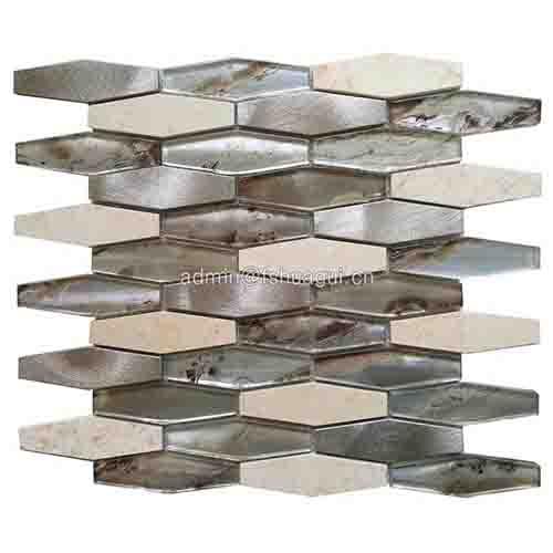 地铁长六边形铝合金玻璃石材马赛克砖