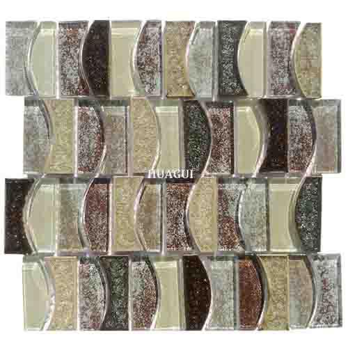 舒适月亮图案织物玻璃混合陶瓷马赛克砖