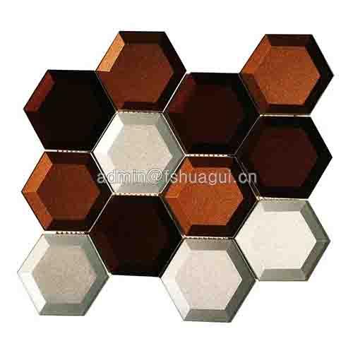 混色光泽玻璃六角马赛克HG-HB010
