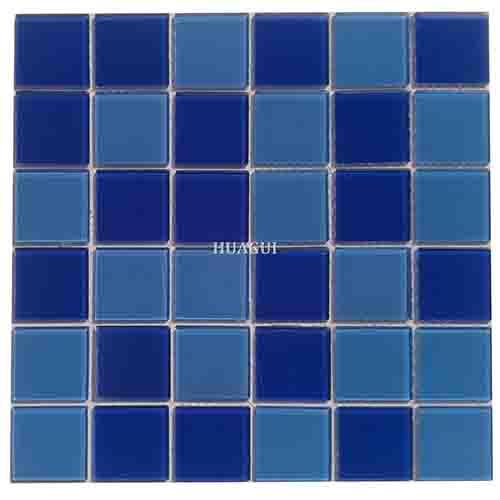 中国工厂游泳池用蓝色玻璃马赛克瓷砖