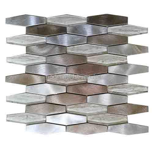 混合棕色六角形金属玻璃,石材马赛克瓷砖背墙砖