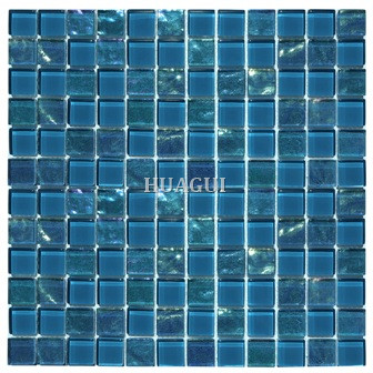 Foshan manufacturer color mixed ripple glass water napier tile