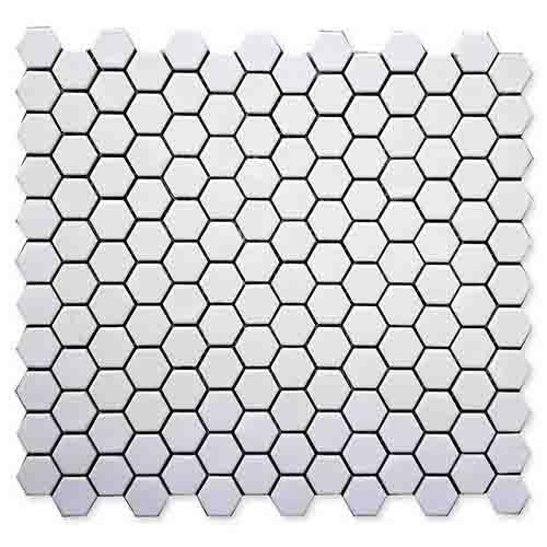 卫生间白色六角形马赛克瓷砖HG-Z050