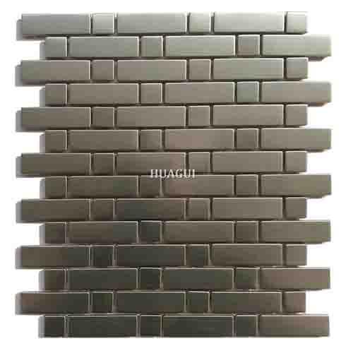 灰条拉丝不锈钢马赛克瓷砖背墙