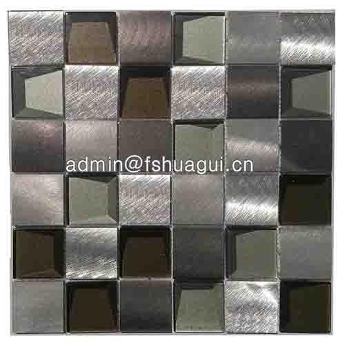 独特3D瓷砖黑色和银色玻璃马赛克厨房瓷砖背墙2018 HG-WJ416