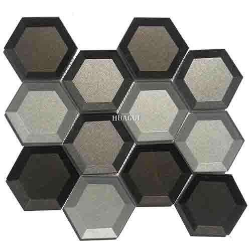 3D灰镜六边形厨房墙砖设计思路