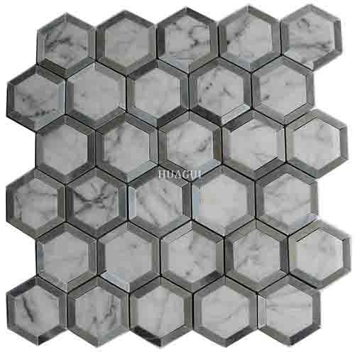 中国灰色大理石金属镶边六边形马赛克砖