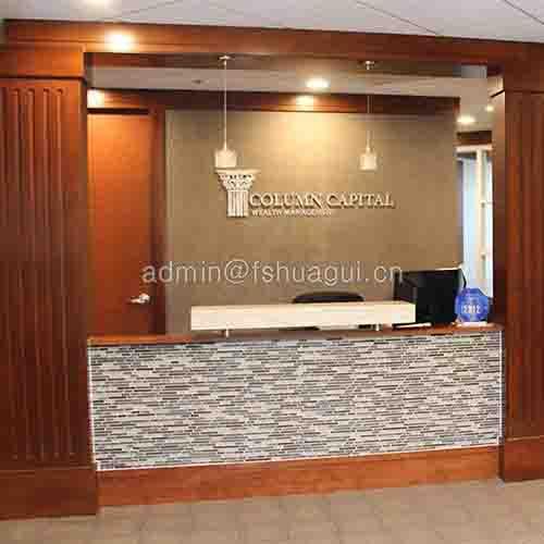 Lobby reception desk backsplash