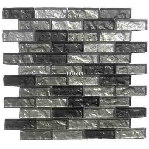 墙或地板设计用防滑黑灰色背墙玻璃砖