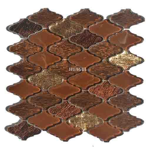 闪棕色混合金黄色玻璃灯笼马赛克墙砖