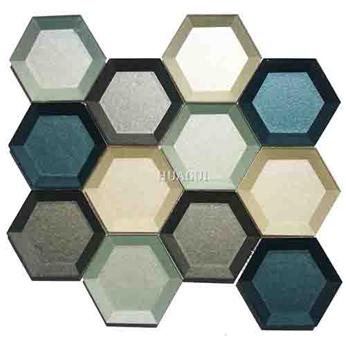 Wholesale decorative glass 3D hexagon mosaic tile colorful splashback ideas