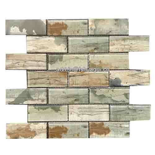 Environmentally friendly recycle inkjet glass mosaic brick tile