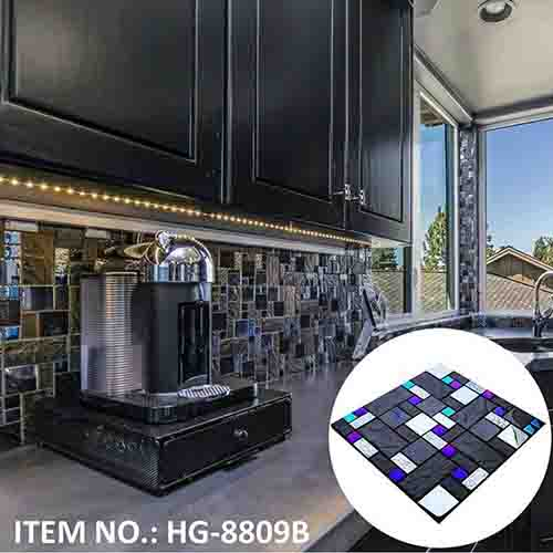Black kitchen mosaic backsplash