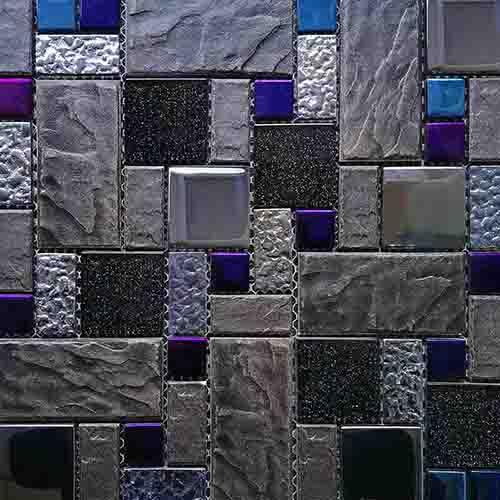 Iridescent glass and imitation stone mosaic tile HG-8809