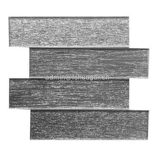 Newest Design Silver Subway Brick Glass Mosaic Wall Tile Silver Color Rectangle Shape