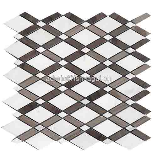 Fashion rhombus design marble stone water jet mosaic pattern tile