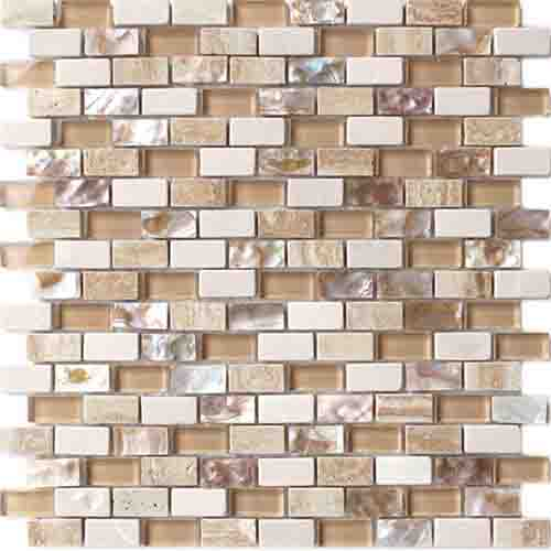 Inexpensive beige color backsplash neutral hexagon glass mosaic tiles in China 01