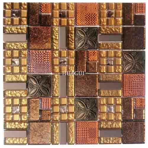 混合各种水晶玻璃马赛克混合树脂瓷砖金色效果背墙