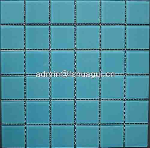 China glass single color mosaic pool tiles HG-448001