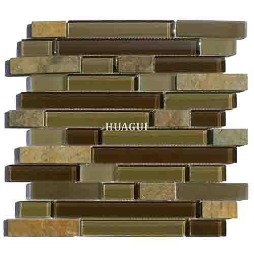 壁炉带棕色玻璃线性混合板岩马赛克瓷砖