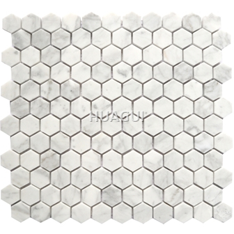 Carrara Stone Material Hexagon honeycomb marble mosaic tile in White/Grey
