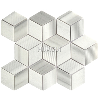 Honeycomb Stone Marble Mosaic Tile in Gray Hexagon Shape in Grey/White for Wall Decoration