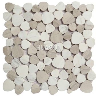 Wood Grain Marble Mosaic Tile in White/Grey/Brown Marble Mosaic Tile