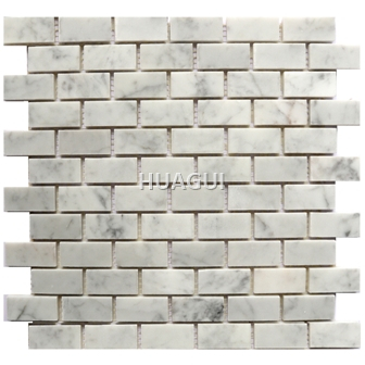 Carrara White Rectangle Shape Marble Mosaic Tile interlocing for bathroom decoration