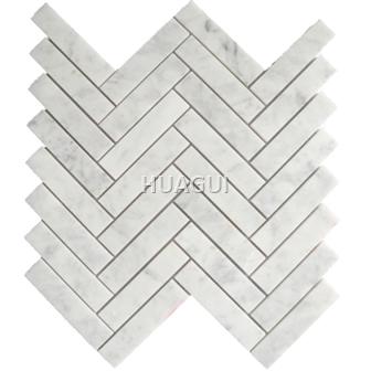 Matte Marble Mosaic Tile in Gray White Rectangle Chips Herringbone Shape