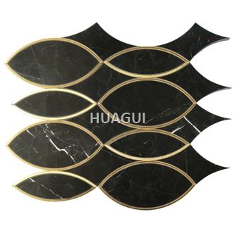 Oval Marble Mosaic tile in Black/Gold Kitchen Backsplash tile Wall Panel