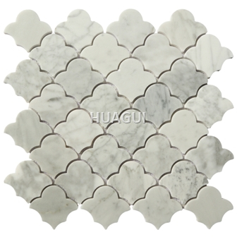 Carrara White Cloud Shape Marble Mosaic Tile  in Bardiglio for Wall