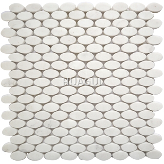 Oval Marble Mosaic Tile in White Carrara stone material for Wall Bcakspalsh Kitchen Mosaic tile