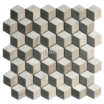 Honeycomb Marble Mosaic Tile in Grey /White/Brown Wall Decoration Material
