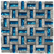 Reflections Glass Mirror Ocean Bule Mosaic Tile Mixed Stainless Steel Chips Wall Backsplsah Tile