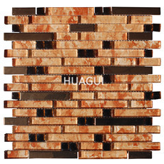 Metal Look Field Tile in Orange Red Glass Mosaic Tile Brick Decoration Material