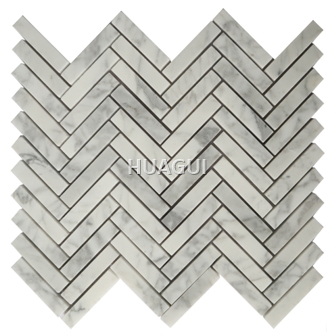 Random Sized Marble Mosaic Tile in White/Gray Herringbone Mosaic Tile
