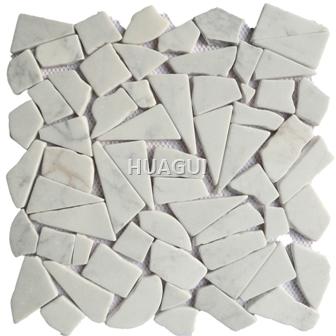 Irregular  Mesh-Mounted  Marble Mosaic Tile in White for Wall Panel Backsplash Tile