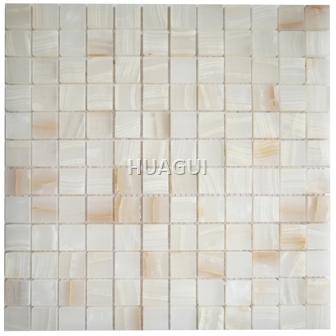 Random Sized Marble Mosaic Tile in Polished Jade White Ice Age Marble Mosaic Tile