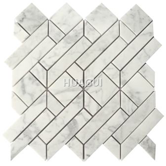 Garden Random Sized Marble Mosaic Tile in White/Gray Marble Mosaic Tile in Polished