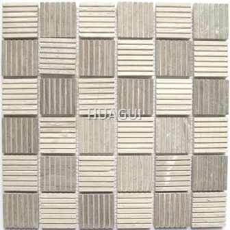 Square Shape Texture of Bottom Random Sized Marble Mosaic Tile in Gray/White