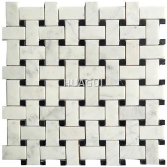 Basket Weaving New Design Honed Carrara White Marble Mosaic Tile mixed Black Dot