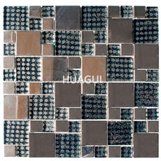 Grid pattern wall paper glass mosaic tile mixed stainless steel mosaic tile for kitchen bathroom