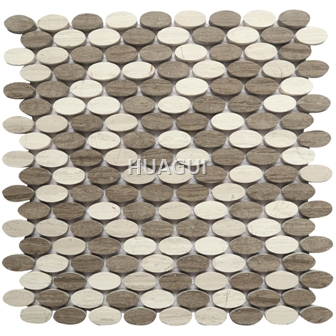 Oval shape Beige mixed Brown Marble mosaic tile for kitchen fireplace decoration