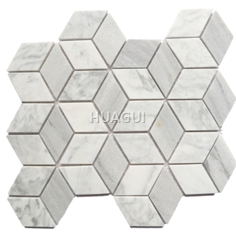 Hexagon Random Sized Marble Mosaic Tile in Grey/White Color