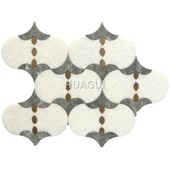 Grand Random Sized Marble Mosaic Tile Lantern Shape Marble Mosaic Tile in Grey/Brown/Gold