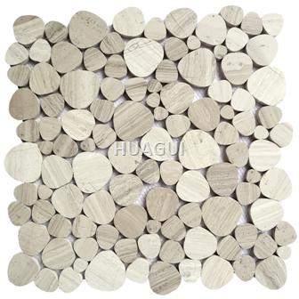 Wood Grain Pebble Marble Mosaic Tile in Brown/White for Wall Backsplash
