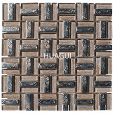 Squares Glass Mosaic Tile in Beige Mixed Stainless Steel Material Backsplash Tile